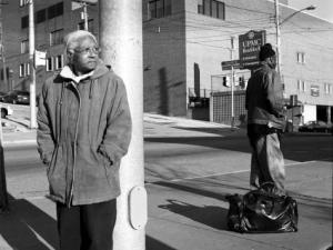 The Notion Of Family by LaToya Ruby Frazier. pg 100 Grandma Ruby and UPMC Braddock Hospital on Braddock Avenue, 2007.