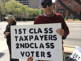 Rick Robol at a Voting Rights are Primary informational picket outside the Ohio Secretary of State's offices, 2014.