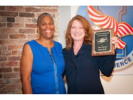 Dr. Lenora Fulani (l) with Tiani Coleman, recipient of a 2015 Anti-Corruption Award by the New York City Independence Clubs