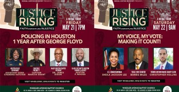 Justice Rising: Faith Dismantling Injustice virtual forum by Wheeler Avenue Baptist Church's Social Justice Ministry