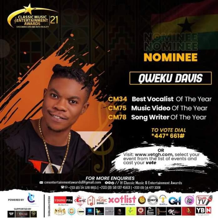 Qweku Davis Gains Three Nominations At Classic Music Entertainment Awards 21