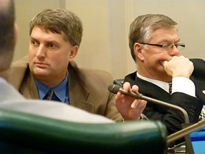 Like the rest of their fellow Republicans on the committee panel, Sens. Torrey Westrom, left, and Bill Ingebrigtsen were subdued in response to testimony in support of the Women's Economic Security Act on Monday in the Senate Environment, Economic Development and Agriculture Finance Division. (Staff photo: Mike Mosedale)