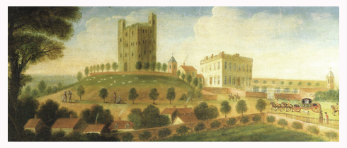 Hedingham Castle in the 18th century.