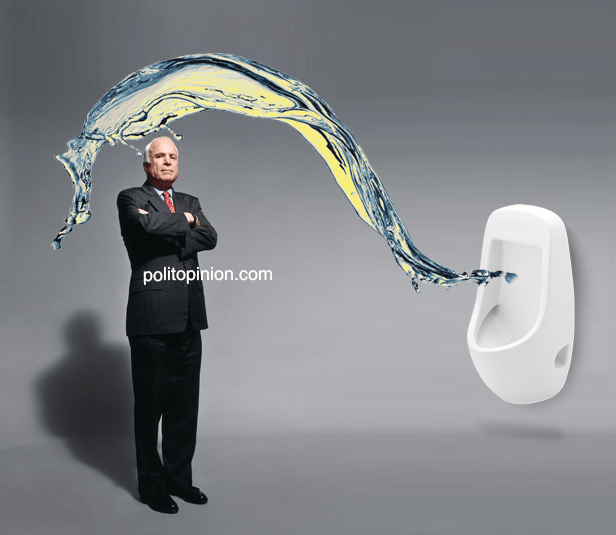 John McCain suffers urinal Backsplash
