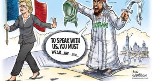 Le Pen is mightier than the sword. @GrrrGraphics.com French presidential candidate Marine Le Pen canceled a meeting with Lebanon's Grand Mufti Tuesday after refusing to wear a headscarf.