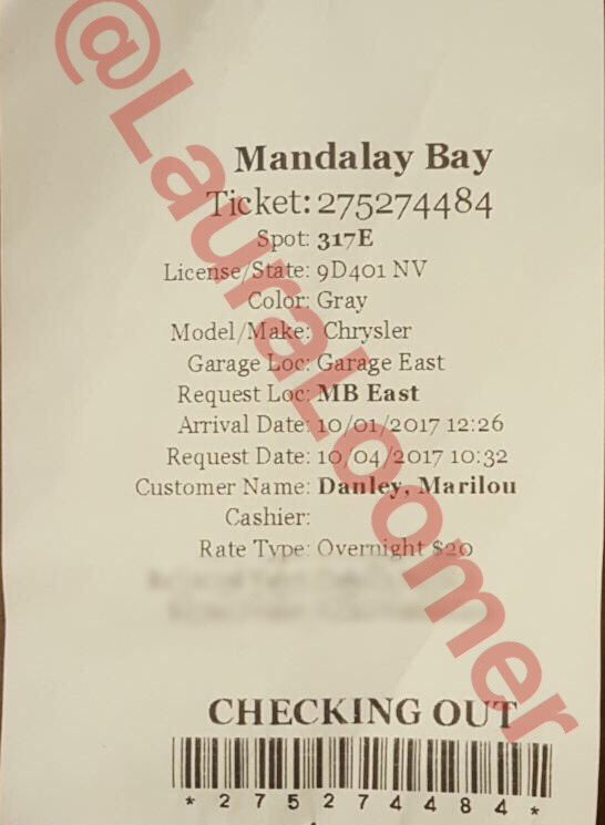 EXCLUSIVE: EXCLUSIVE: The last @MandalayBay valet receipt for #StephenPaddock's van was Oct. 1, 2017 at 12:26 pm in the name of his GF, Marilou Danley.