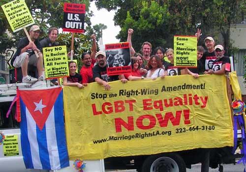 ANSWER LA LGBT Pride parade truck