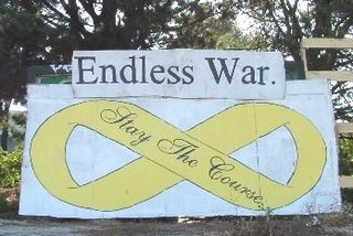 Endless war freeway sign