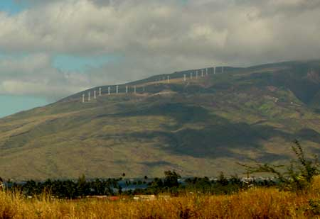 Maui wind turbines from a distance
