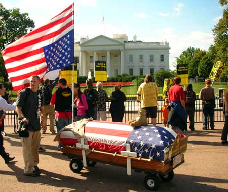 White House coffin. March on DC. Sept 15 2007