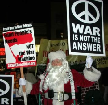 Antiwar Santa. ANSWER LA. Dec. 2005 street demo