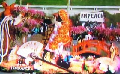 Rose Parade impeach sign