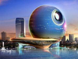 Death Star Lunar Hotel in Baku, Azerbaijan