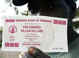500 million Zimbabwe dollars note