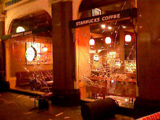 Starbucks windows smashed in London