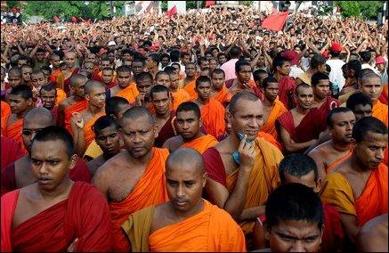 TamilNet photo: JVP protest draws hundreds of Buddhist monks.