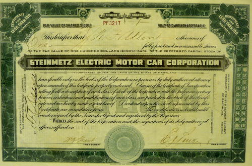 Stock certificate for Steinmetz Electric Motor Car Corp