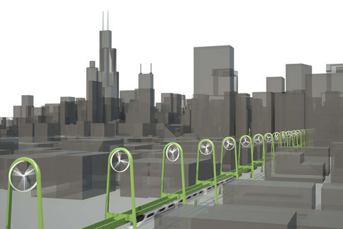 wind powered Chicago mass transit