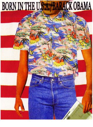 Obama. Born in the USA greeting card