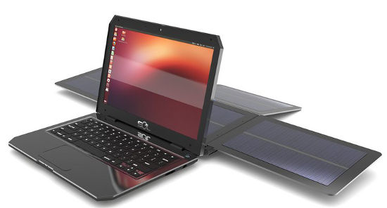 SOL solar powered laptop