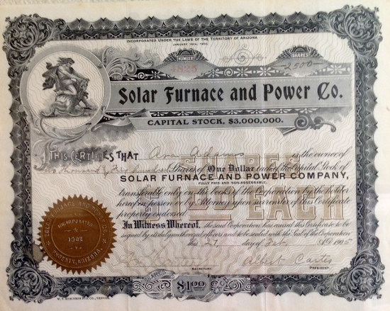 Solar Furnace and Power Co. stock certificate