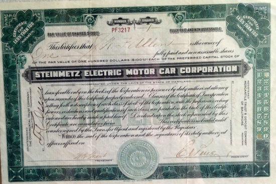 Steinmetz Electric Motor Car Corp stock certificate