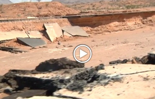 I-15 flood damage near Moapa