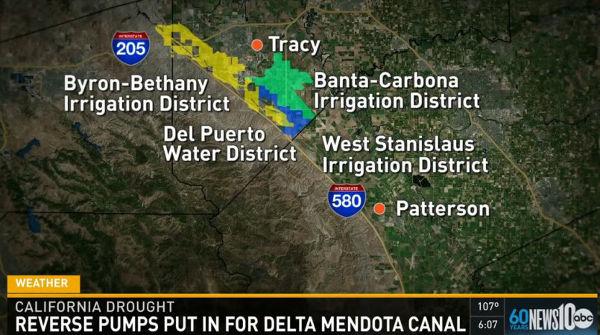Delta-Mendota Canal reverse pumping
