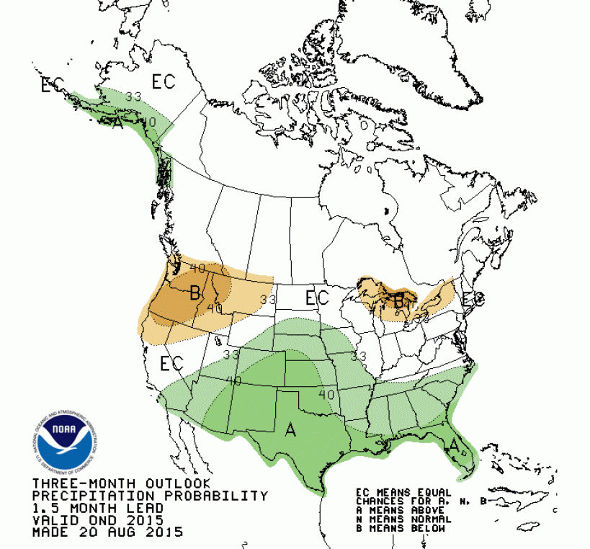 Oct-DEc US precipitation outlook