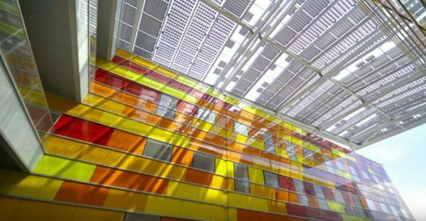 Perovskite panels on an office building