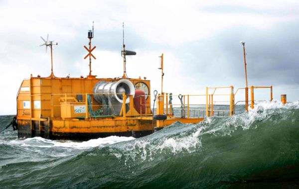 Ocean Energy wave energy buoy, with turbine above water.
