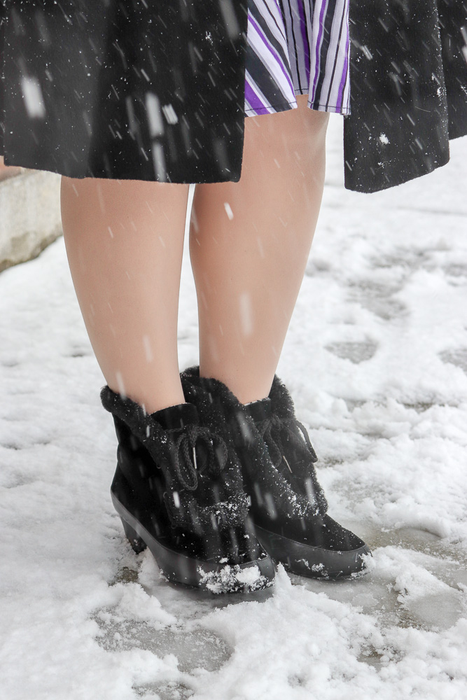 Royal Vintage Shoes reproduction velvet and fur 1940s snow boots