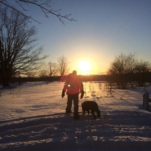 walking the dog sunset snow