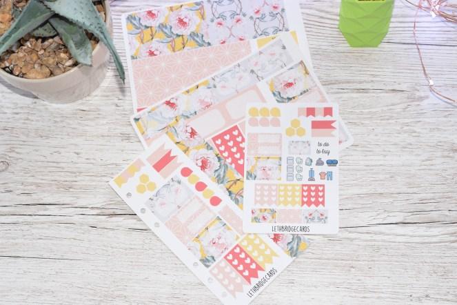 geometric flower planner stickers