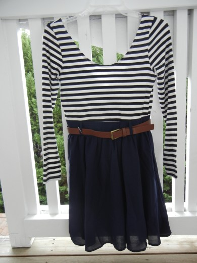 Navy striped dress [front] | Christina's Best Life