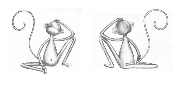 Sitting monkey sketch by Jaina Minton
