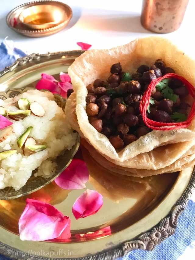 Sookhe Kaale Chane Puri Aur Sooji Ka Halwa/ Sooji ka Halwa/ Mata ka Bhog/ Spicy Bengal Gram Recipe/ Kanjak Bhog Recipe/ Kanya Pooja ka Bhog/ Ashtami ka Bhog/ North Indian Ashtami Bhog recipe/ Navratri Menu