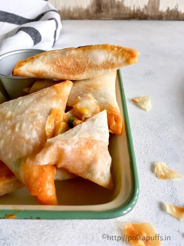 Baked Cheesy Corn and Peas Samosas