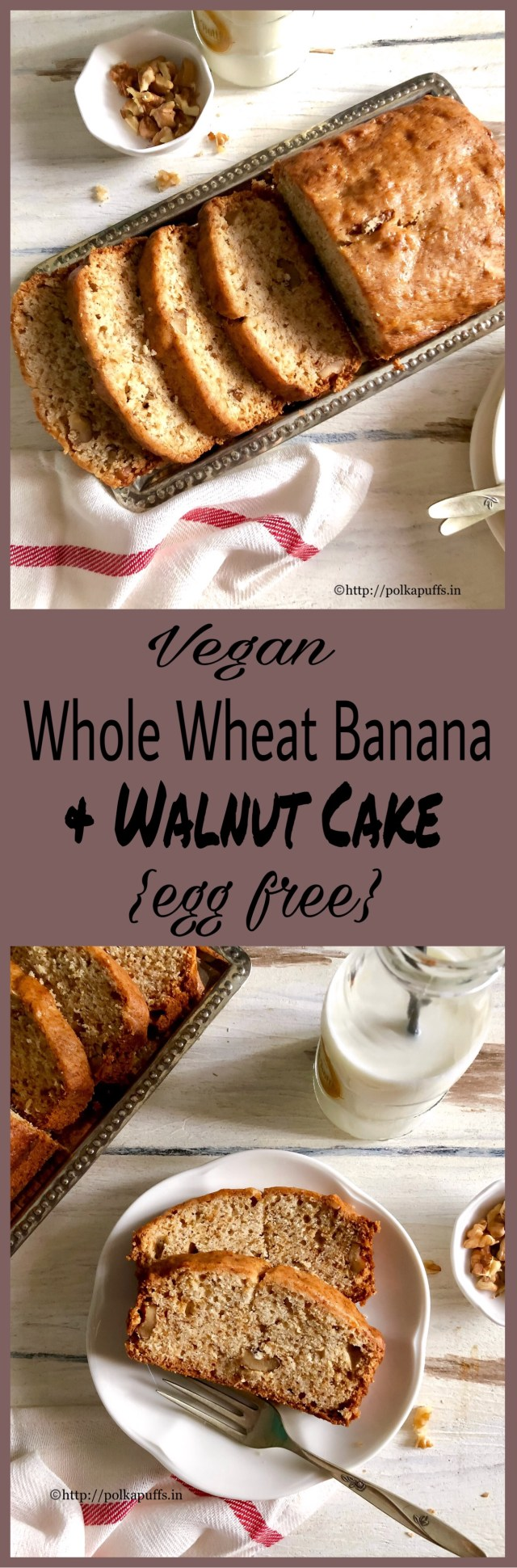 Egg free Whole wheat Banana and Walnut Cake | Vegan Banana Loaf