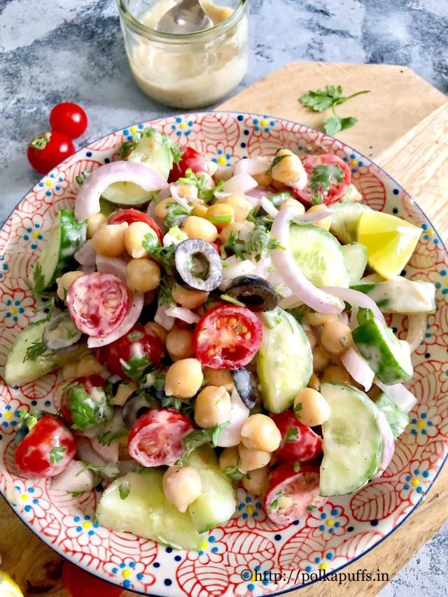 Mediterranean Chickpea Salad | Vegan & GF Tahini Dressing