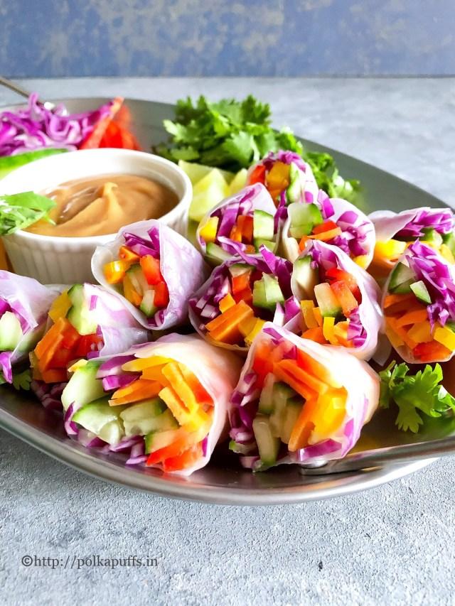 Rainbow Veggie Rolls with Peanut Sauce | GF and Vegan
