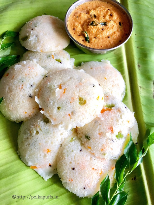 Vegetable Poha Idli | Red Coconut Chutney