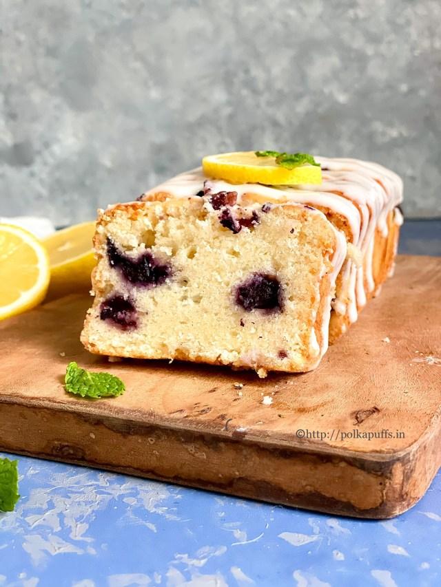 Eggless Lemon Blueberry Pound Cake