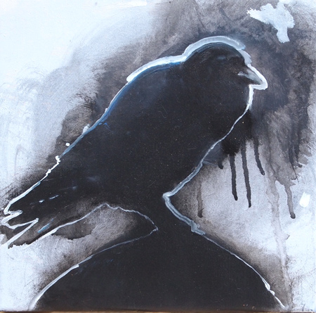 Crow Study, in progress, oil on linen 11 x 11 in.