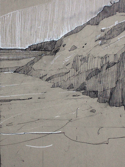 Sand Beach, right side, 18 x 12 inches, pencil and chalk on board