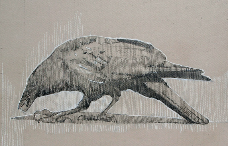 Feeding. pencil and chalk on Canson board, 12 x 18 inches