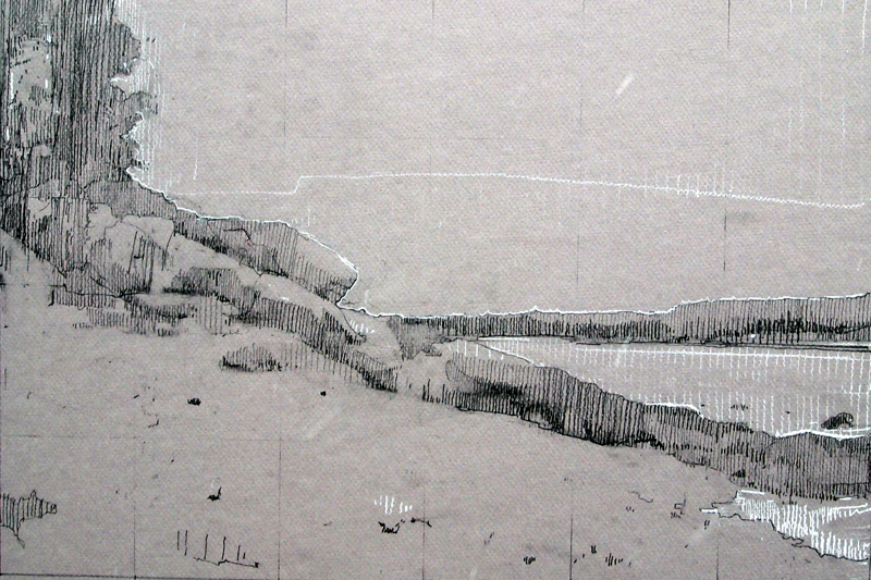 Near Otter Cliff, Graphite and Conte on Canson Board, 12 x 18 inches