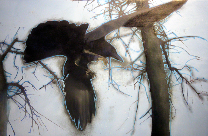 Crow beneath Trees, oil om Linen, 24 x 36 inches. Work in Progress