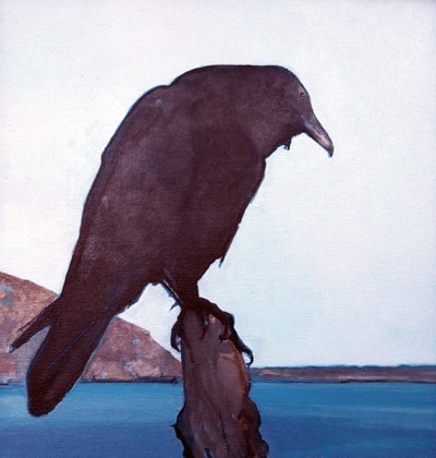 Perched (Raven), oil on linen, 20 x 19