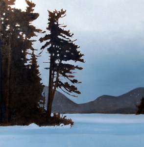 Overcast, Eagle Lake, oil on panel, 16 x 16 inches